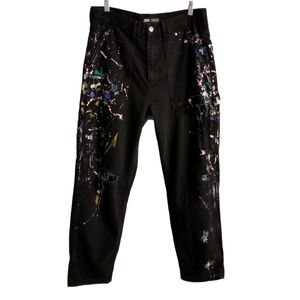 RARE Zara Carpenter Paint Splatter High Rise Jeans